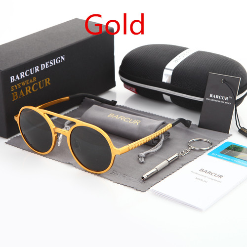 BARCUR Retro Aluminum Magnesium Sunglasses Polarized Lens Vintage Eyewear Accessories Sun Glasses Driving Men Round Sunglasses