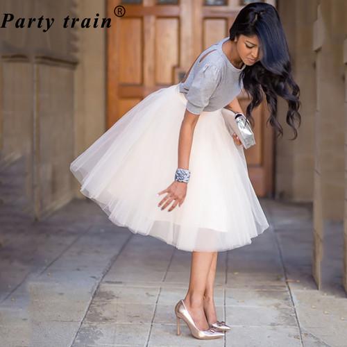 5 Layers 65cm Princess Midi Tulle Skirt Pleated Dance Tutu Skirts Womens Lolita Petticoat Jupe Saia faldas Denim Party Skirts