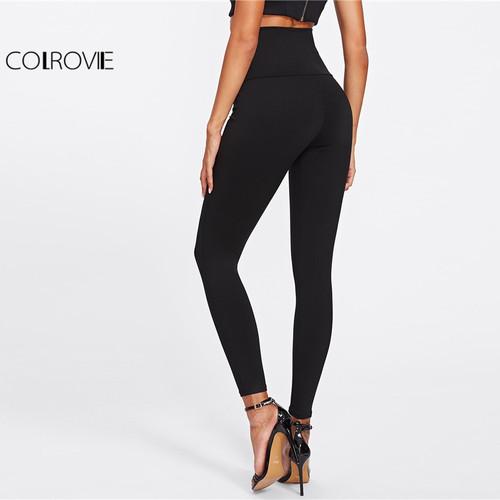 COLROVIE 2018 Spring High Waist Skinny Leggings Black Empire Eyelet Lace Up Sexy Leggings Women Elegant Sporting Pants