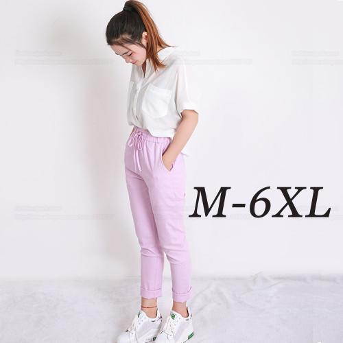 Summer Harem Pants Womens High Waist Loose Straight Nine Pants Womens Comfortable Casual Pants Large Size 6XL OL Pants