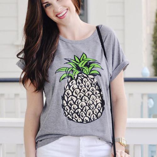 ZSIIBO BANVTX31 Women Fruit Print Pineapple Summer T-shirt O-neck Casual Short Sleeve Tee Tops Female Tshirt Woman Clothes