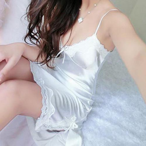 Fashion Sexy Sleepwear Women Silk Lace Nightgowns V-Neck Spaghetti Straps Nightdress