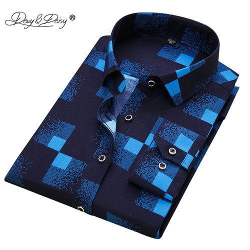 DAVYDAISY 2018 New Arrival 100% Polyester Men's Shirt Fashion Men Print Long Sleeved Shirt Male Slim Fit Brand Clothing DS217