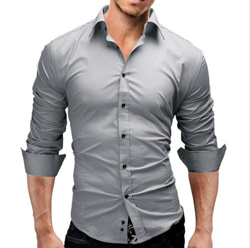 2018 Brand Fashion Male Shirt Long-Sleeves Tops Slim Casual Solid Color Mens Dress Shirts Slim Men Shirt 3XL