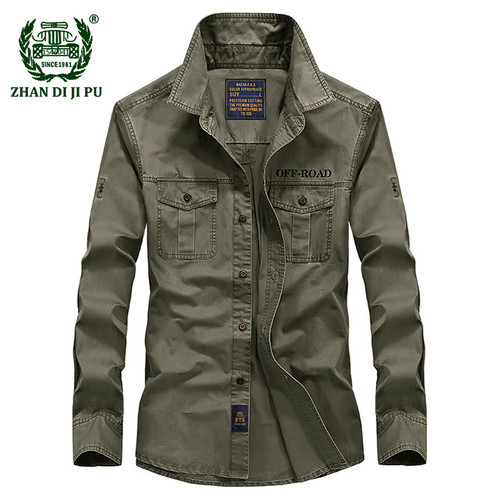 2018 Spring men's high quality military casual brand long sleeve shirt man autumn 100% cotton afs jeep army green shirts S-4XL