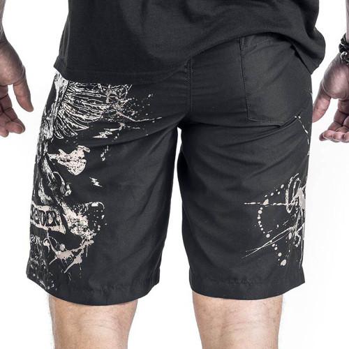 2017 Summer Male Skull Print Sandblasting Short Pants Fashion Men's Casual Sportwear Beach Shorts Man