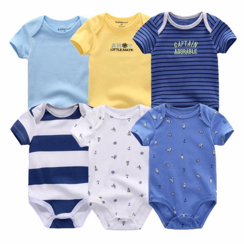 6 PCS/lot newborn baby bodysuits short sleevele baby clothes O-neck 0-12M baby Jumpsuit 100%Cotton baby clothing Infant sets