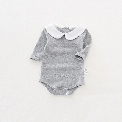 Cute Newborn Baby Girl Clothing Long Sleeve Cotton Baby Rompers Peter Pan Collar Baby Girls Jumpsuit Boy Clothes Infant Costumes