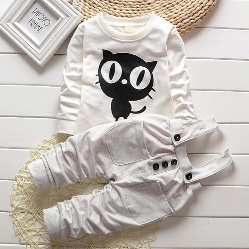 Baby Boy Clothes 2017 Spring Autumn OWL Print Long T-Shirt T-shirt Tops + Overalls Pants 2PCS Outfits Kids Bebes Jogging Suit