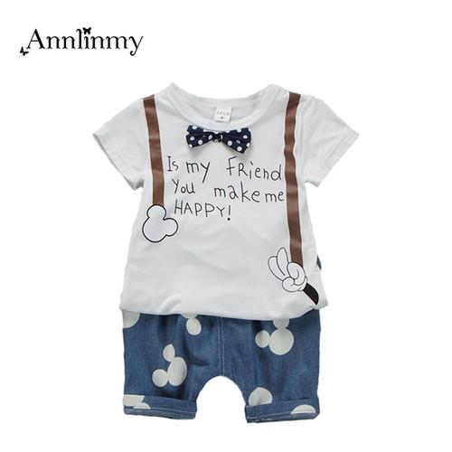 2018 summer children clothing baby boys outfit print t shirt+mouse pant 2pcs baby boy clothes set roupa infantil newborn boy set