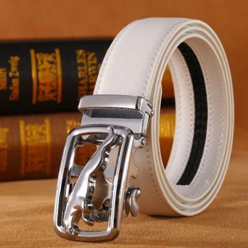 White Genuine Leather Fashion jaguar Designer Belt Men Luxury Brand High Quality Waist Strap Male Silver Automatic Buckle