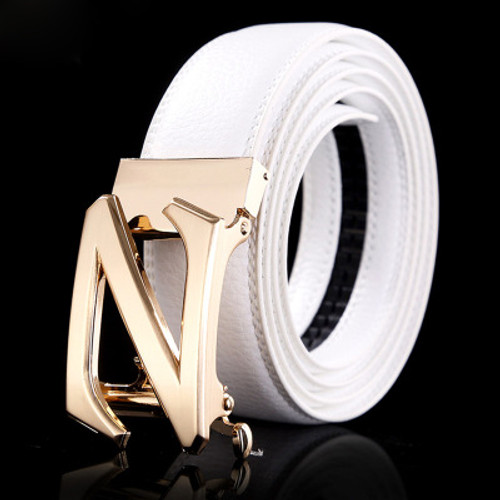 White Genuine Leather Fashion jaguar Designer Belt Men Luxury Brand High Quality Waist Strap Male Silver Automatic Buckle