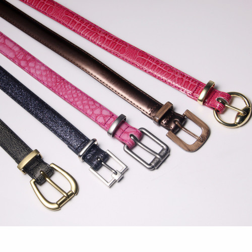 JUN XIANG New Fashion Belt for Women Use Fashion Women Candy Color Narrow Thin Skinny Waist Belt Pu Leather Waistband