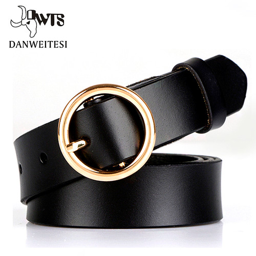 [DWTS]2018 New Women Waist belt Simple Metal Belt female Gold Round Buckle Ladies Belts Strap Students Belts for Women
