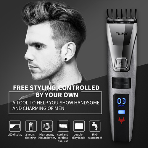 RIWA 100-240V Electric Hair Clipper Rechargeable Hair Trimmer LCD Display Waterproof Nose Trimmer Men Clipper Haircut Machine