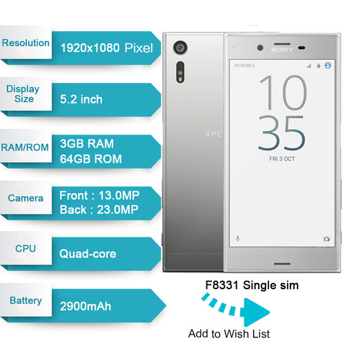 "Original Unlocked Sony Xperia XZ F8331 4G LTE 3GB RAM 32GB ROM GSM Quad Core Android 5.2"" IPS 23MP Fingerprint GPS WIFI 2900mAh"