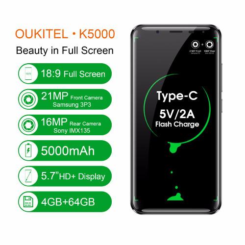 "Oukitel K5000 5.7"" HD Infinity Display MTK6750 Octa Core Android 7.0 4GB RAM 64GB ROM 21MP Cam 5000mAh Fingerprint 4G Smartphone"