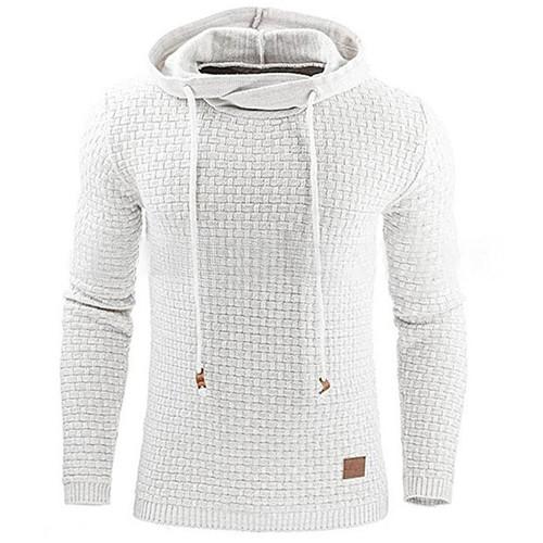 Hoodies Men 2018 Brand Male Long Sleeve Solid Color Lattice Hooded Sweatshirt Mens Hoodie Tracksuit Sweat Coat Casual Sportswear