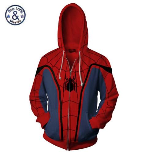 3D Print Zipper Hoodies Super Spider Man Sweatshirts Men Graphics Jackets Winter Casual Harajuku Hooded Coat Long Sleeve Tops
