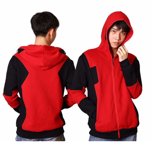 Deadpool Sweatshirt 2017 Winter Fashion Mens Hoodies Red Streetwear Superhero Cosplay Full Zipper Deadpool Hoodies For Men