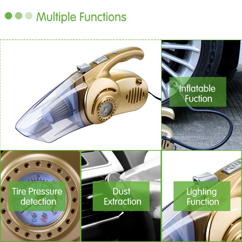 Onever 12v mini car air compressor tyre inflator infaltion pump handheld led light car vacuum cleaner auto portable dust brush