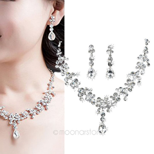 Elegant Charm Plated Wedding Bridal WaterDrop Raindrop Rhinestone Crystal Necklace Earring Jewelry Set For Women