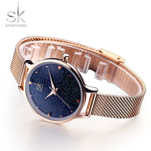 Shengke Top Luxury Brand Women Watches 2017 Fashion Women Bracelet Watch Elegant Stars Rose gold Relogio Feminino Montre Femme