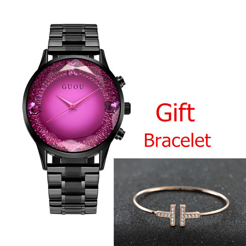 GUOU Big Dial Female Watch 2018 Luxury Brand Rose Gold Women Bracelet Watch Fashion Dress Ladies Wristwatch zegarki damskie
