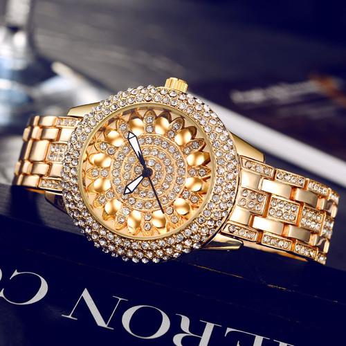 BSL1031 BAOSAILI Classic Lotus Rhinestones Alloy Strap Stainless Steel Back Case Wrist Watch for Women Fashion Bracelet Watch
