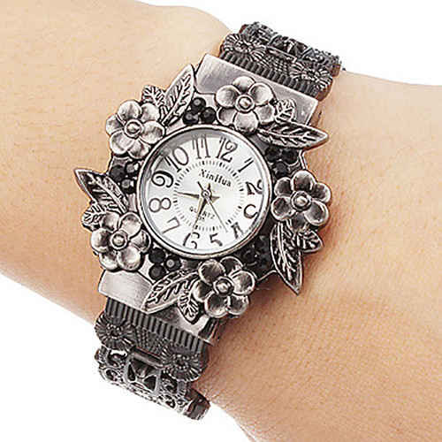 Pulsera Hombre 2017 XINHUA Stainless Steel Dial Quartz Wristwatches for Women Fashion Bracelet Watches Flower Quartz Watch