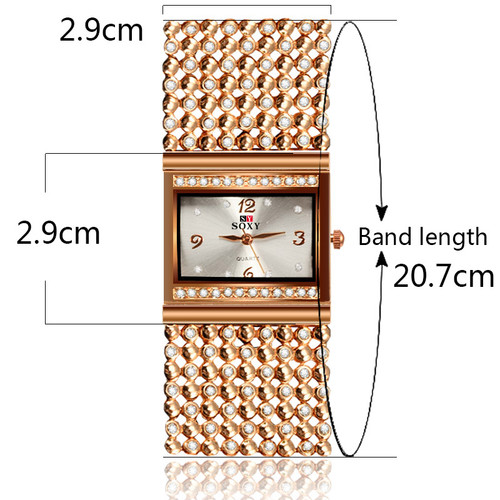 2017 New Hot Sell Women Bracelet Watches Fashion Lady Gift Rose Gold Rhinestone Designer Top Luxury Brand SOXY Relogio Feminino