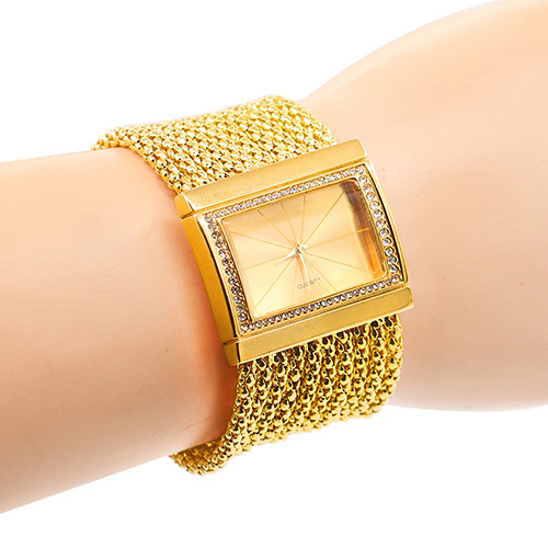 Hot Sales Classic Luxury Quartz Watch Women's Gold Diamond Case Alloy Band Bracelet Watch New Design 5DC9 6YLN
