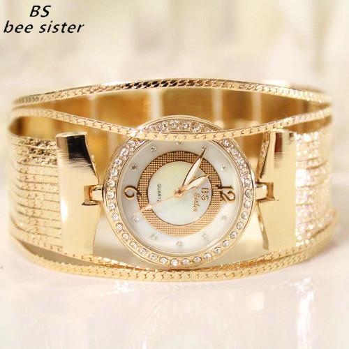 BS Brand Fashion luxury Lady Gold Watches Women Full Wrist watches Magic Women Bracelet Watch Ladies dress Wrist Watch Female