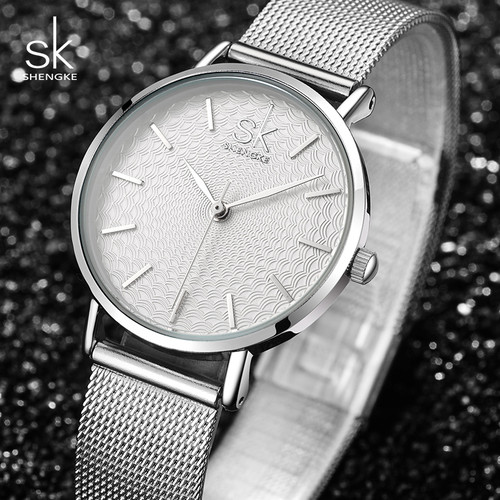 Shengke Watches Women Top Brand Luxury Silver Quartz Watch Stainless Steel Bracelet Watches Ladies Clock 2018 SK Relojes Mujer