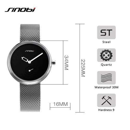 SINOBI Women Watches Sliver Top Brand Fashion Creative Dial Ladies Quartz Clock Watch Women Bracelet Watch Reloj Mujer Mesh Hour