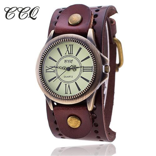 CCQ Luxury Brand Vintage Roman Leather Bracelet Watch Women Antique WristWatch Casual Quartz Watch Ladies Relogio Feminino 1391
