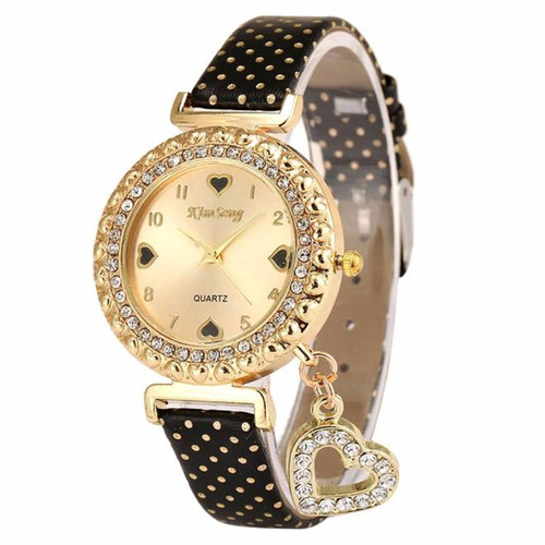 2018 new Love Heart Bracelet Watches Women Leather Crystal Quartz Wrist Watch Gold Clock Relojes Mujer Relogio Feminino Montre