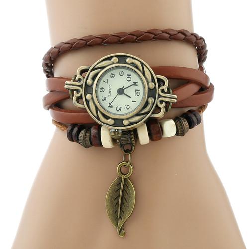 Gnova Platinum Classic Genuine Leather Bracelet Watch Women Vintage Watch Korean Fashion LEAF wristwatch Girls Gift