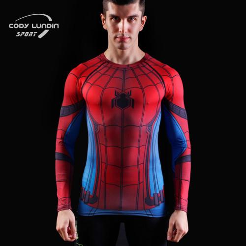 2017New Fashion Fitness Compression Shirt Men Superman Captain America Batman Spiderman Iron Man Crossfit tshirt Gentle Clothing