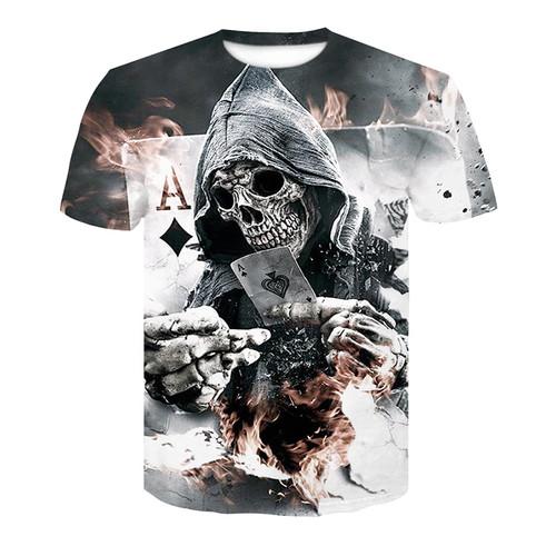 2018 New skull 3D Printing T-shirt Men Fitness Compression Shirts Tops Male T-shirt Summer Cool High Street Wear