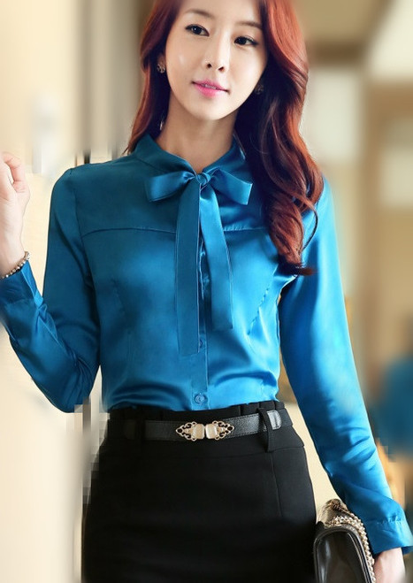 2016 Long sleeve bow blouse women satin blouse silk satin top big size elegant office satin shirts women formal blouses uniform
