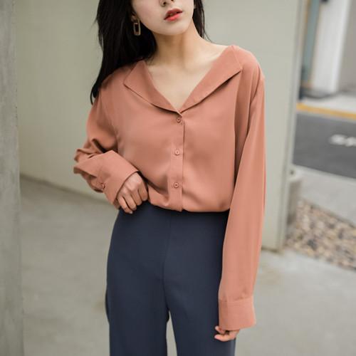 2018 Vintage Women silk satin blouse button Lapel long sleeve shirts ladies office work elegant female Top  high quality Blouse