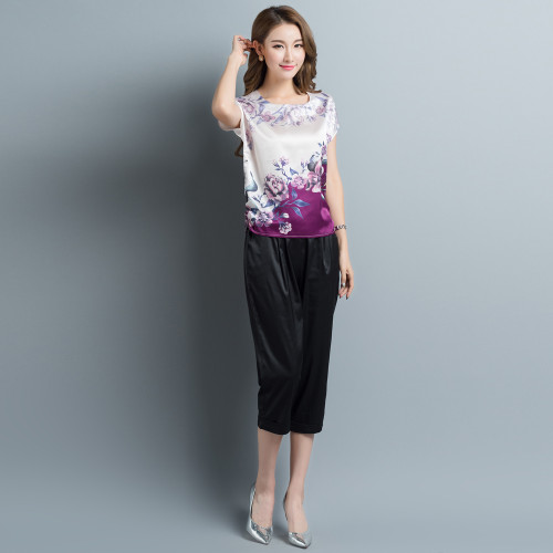 2017 Summer Plus size L-4XL print purple silk blouses women casual loose flower print satin silk shirts big lady satin silk tops
