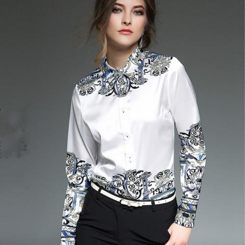 2016 Autumn Winter long sleeve print shirts women vintage satin shirts women work wear office white blouse white silk shirt