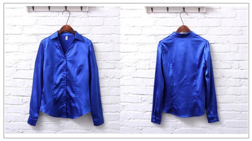2017 Spring long sleeve blue satin blouses women white silk shirts women work wear office OL white satin shirts lady satin tops
