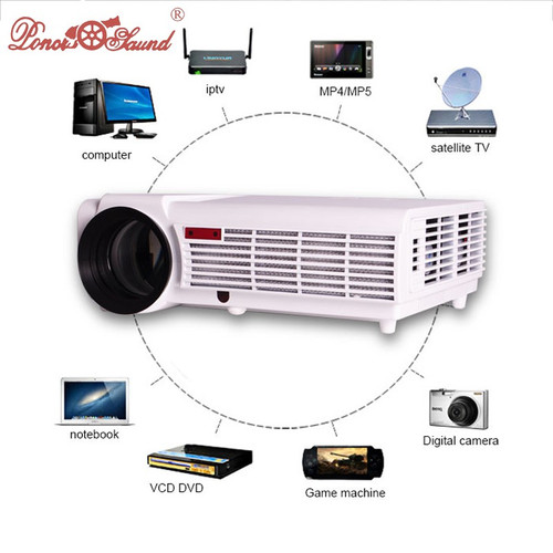 HTP led 96 5500 lumens Multifunction projector full hd 3d support 1080p home theater projector beamer with gift