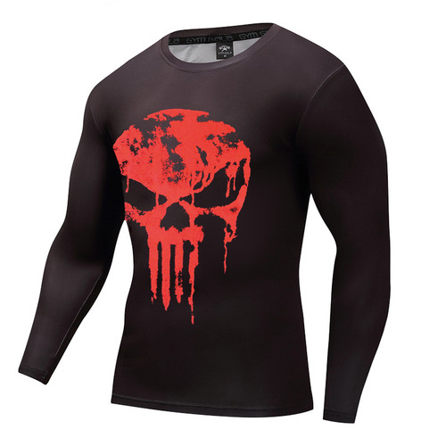 New Marvel 2018 Punisher Superhero Superman/Batman Men Long Sleeve T Shirt G ym Compression Tights Tops Fitness T-shirt