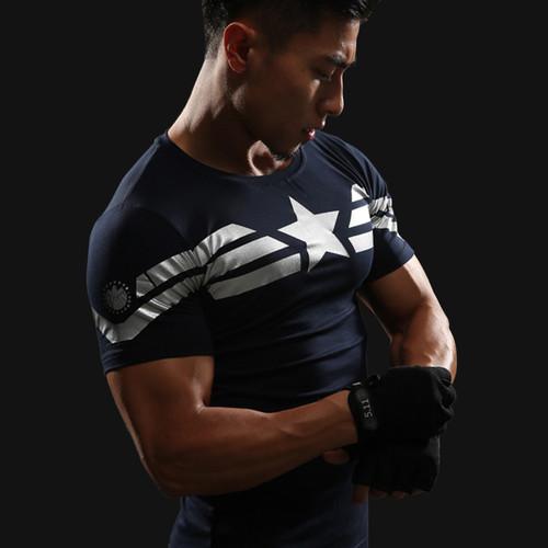 2018 Captain America 3D T-shirt Men's Fitness Compression Shirt Top Male Print Super Hero Superman Punisher Crossfit