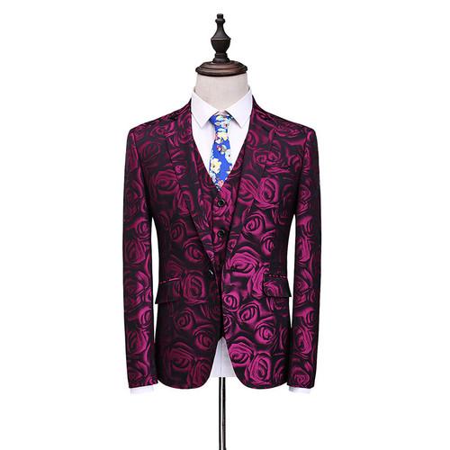 La MaxPa (jacket+pants+vest)2017 Fashion men suit spring autumn suits casual slim fit prom party man wedding red suit dress