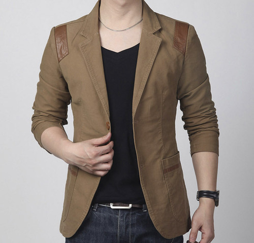New Fashion Spring and autumn men's clothing Casual Slim Fit Blazer Leather Patchwork Plus Size Suits Jacket Men Outwear
